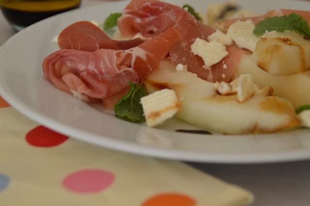 Melon Prossiotto feta and mint salad 007