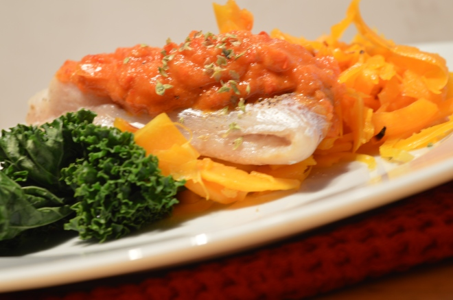 Butternut squash fettucine,steamed fish and Red Pepper Sauce 014