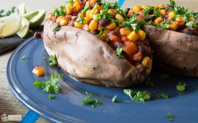 Stuffed Sweet Potato with Vegan Bean Chilli